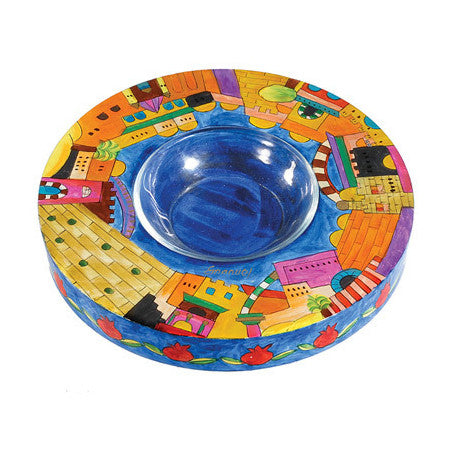 Wooden Hand Painted Honey Dish by Yair Emanuel