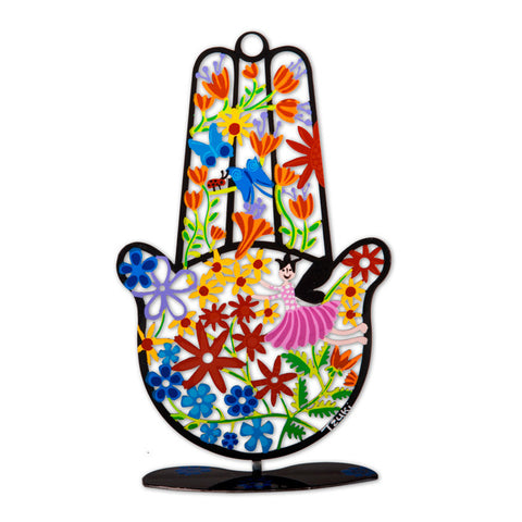 Black Hamsa Hand with Flowers by Tzuki Art