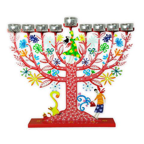 Family Tree Hanukkah Menorah, Red - by Tzuki Art