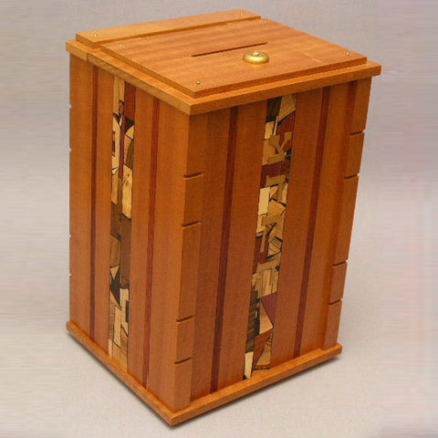 Handcrafted Wood Mosaic Synagogue Tzedakah Box by Etz Ron