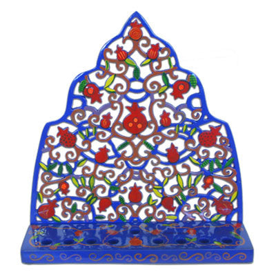 Hand Painted Morocan Style Metal Menorah by Yair Emanuel - Matana Boutique
