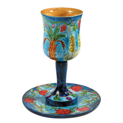 Hand Painted Seven Species Kiddush Cup by Yair Emanuel - Matana Boutique