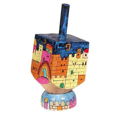 Wooden Dreidel with Jerusalem Scene and Stand by Yair Emanuel - Matana Boutique