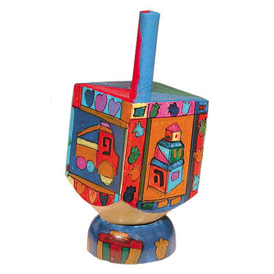 Wooden Dreidel with Toy Design and Stand by Yair Emanuel - Matana Boutique