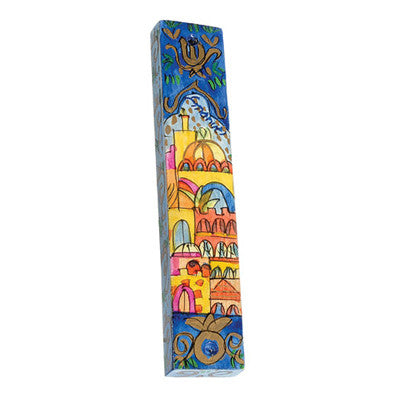 Hand Painted Small Mezuzah with Jerusalem by Yair Emanuel - Matana Boutique