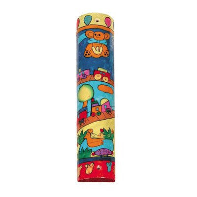 Hand Painted Small Mezuzah with Toy Train by Yair Emanuel - Matana Boutique