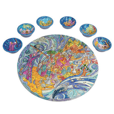 Hand Painted Wooden Seder Plate by Yair Emanuel - Matana Boutique