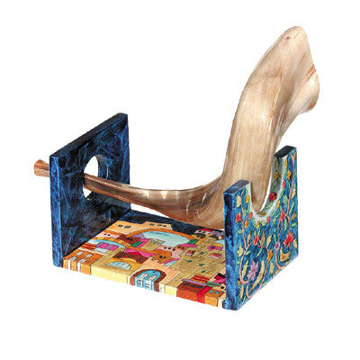 Small Wooden Hand Painted Shofar Holder by Yair Emanuel