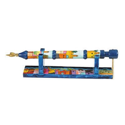 Hand Painted Torah Pointer Yad & Holder by Yair Emanuel