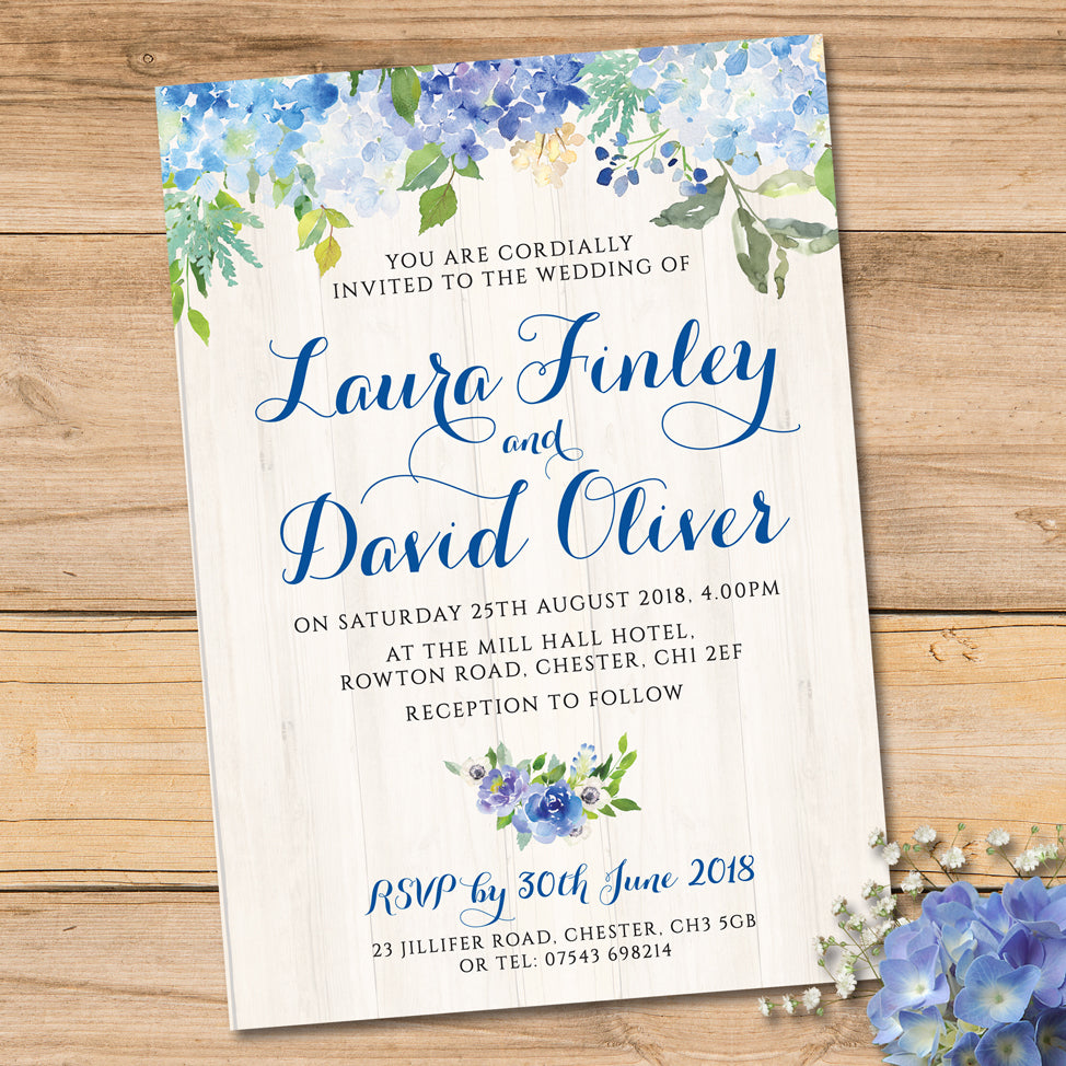 Blue Cream Floral Watercolour Wedding Invitation