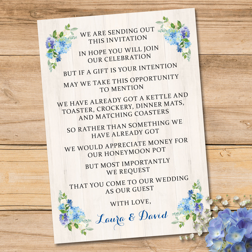 Blue Cream Floral Watercolour Wedding Gift Poem Card