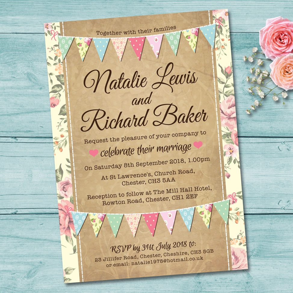 Pastel Bunting Wedding Invitation