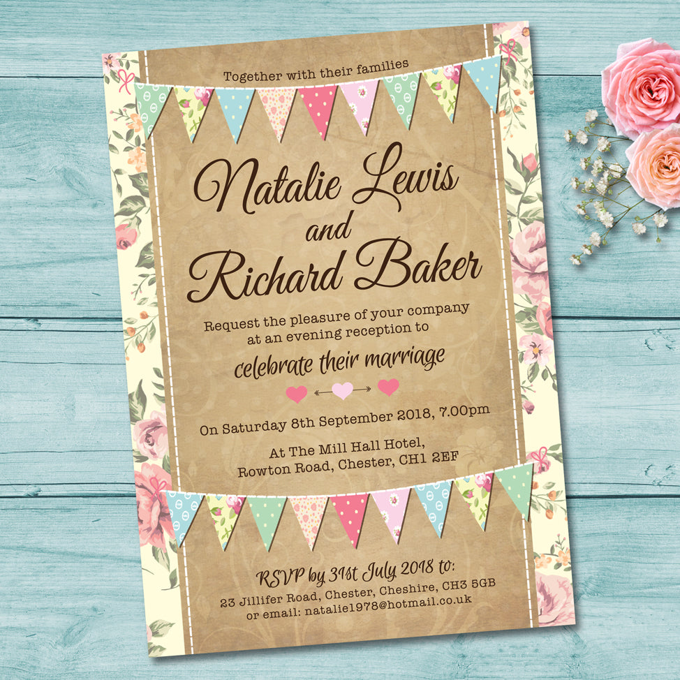 Pastel Bunting Evening Wedding Invitation