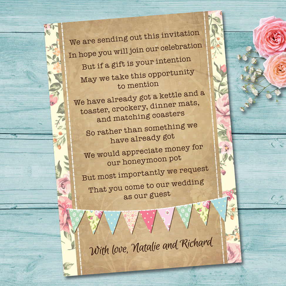 Pastel Bunting Wedding Gift Poem