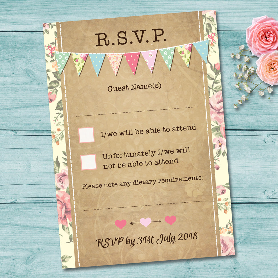 Pastel Bunting Wedding RSVP Card