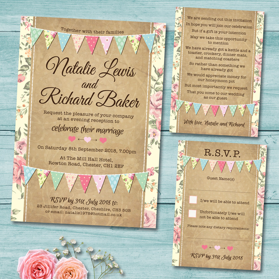 Pastel Bunting Wedding Invitation Set