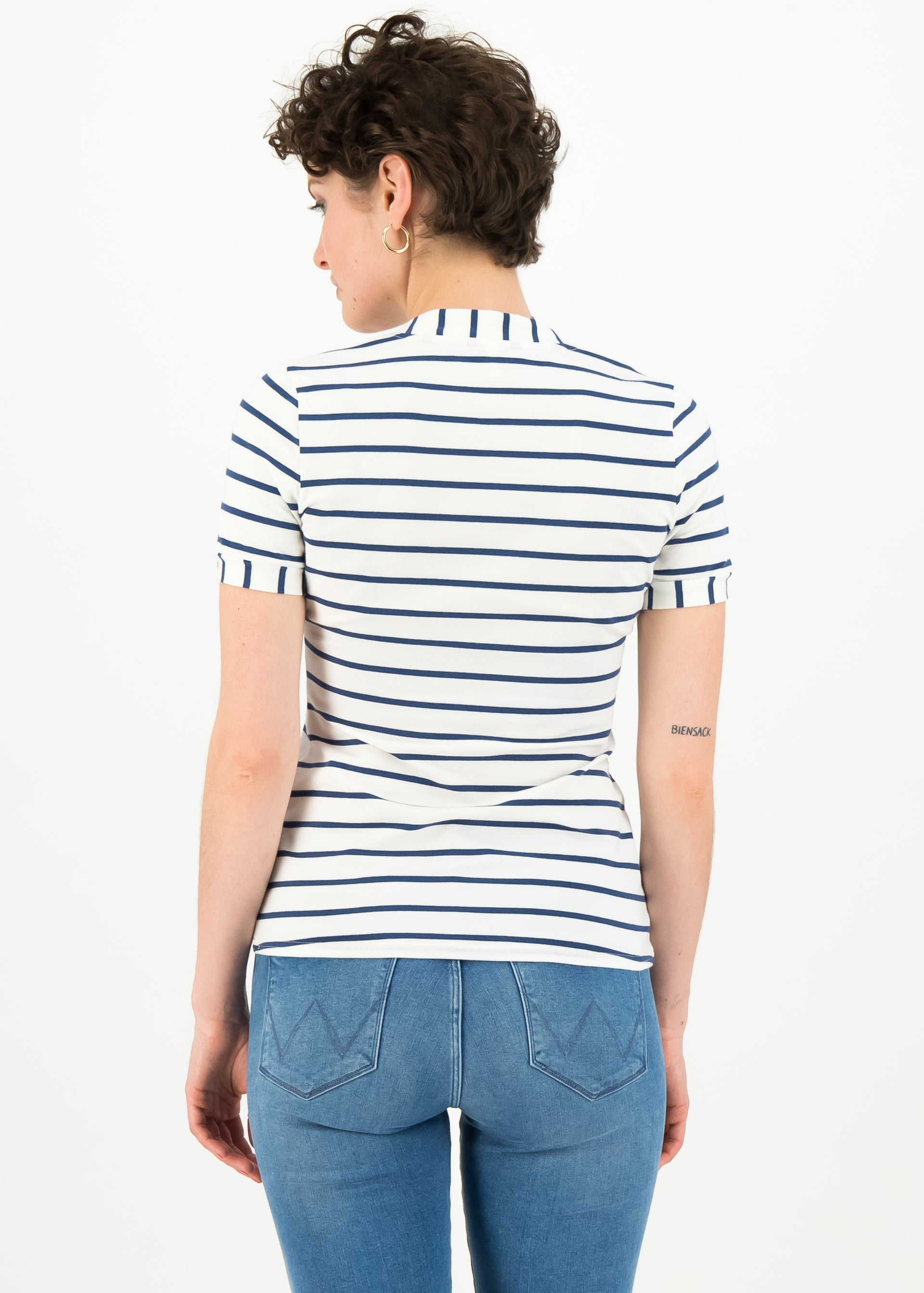 Damen Shirt logo stripe of paris, weiß