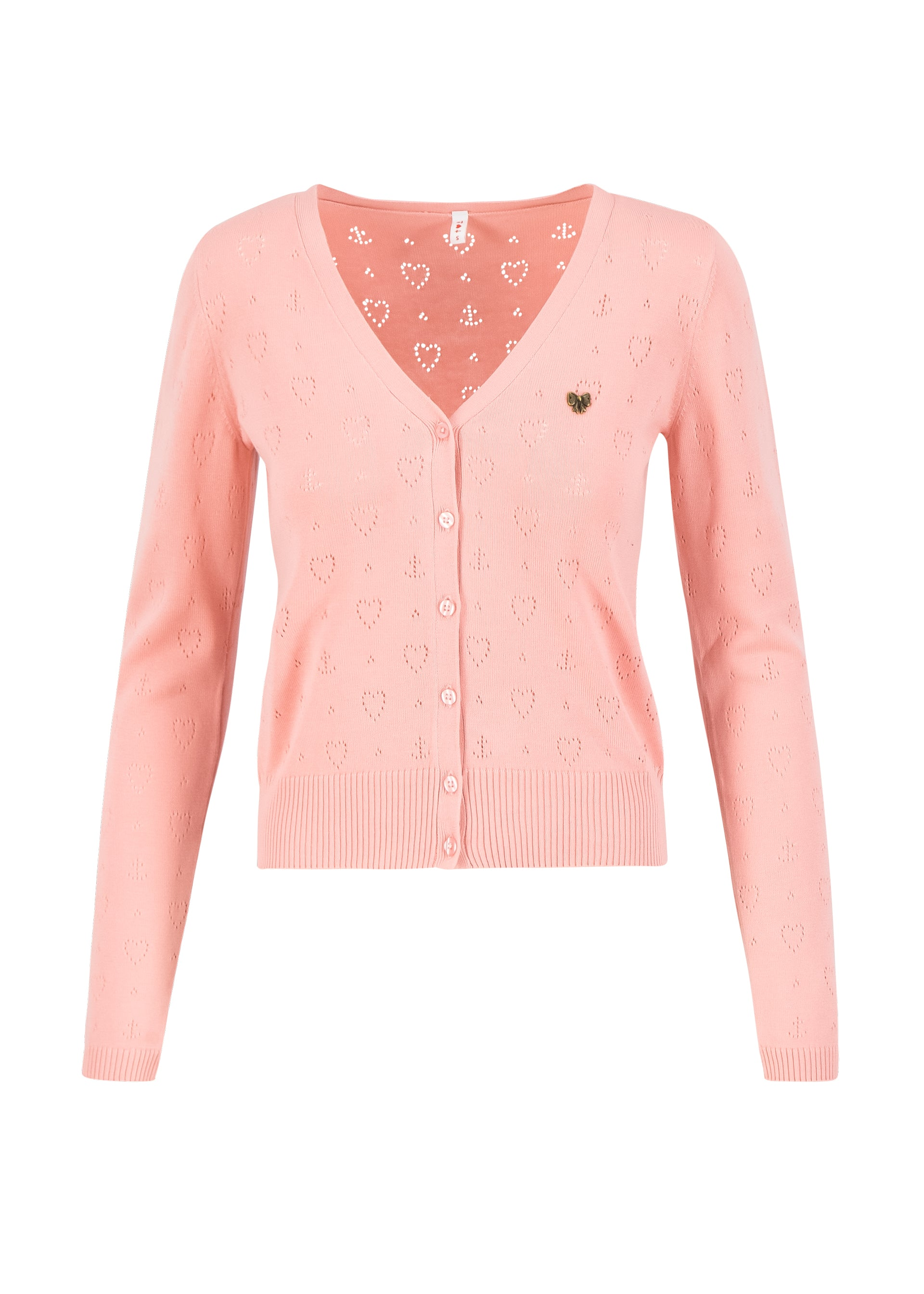 Damen V-Strickjacke rose