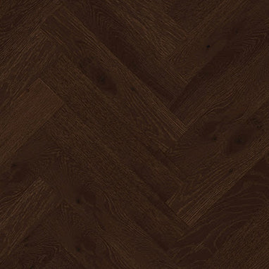 Handscraped Black Matt Varnished Herringbone