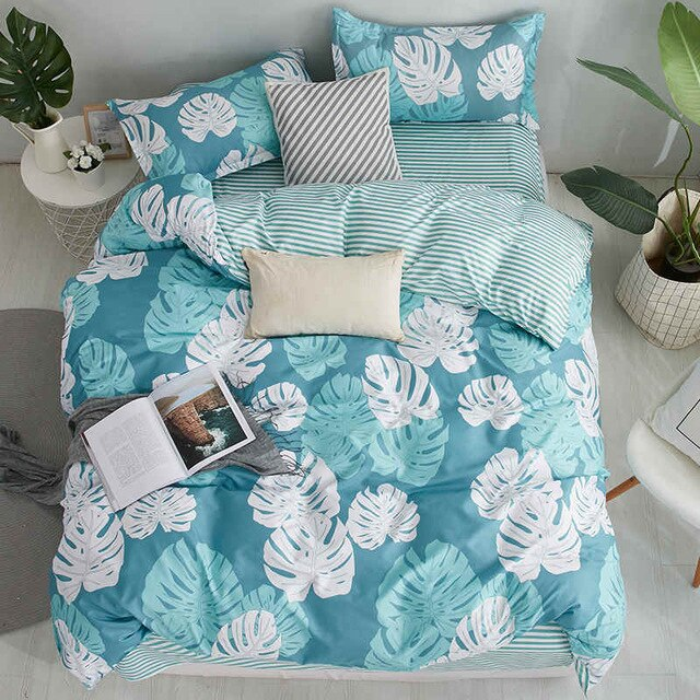 Liv-Esthete Fashion Banana Leaf Bedding Set Double Queen King Bed Linen Comfortable Duvet Cover Flat Sheet Pillowcase For Adult