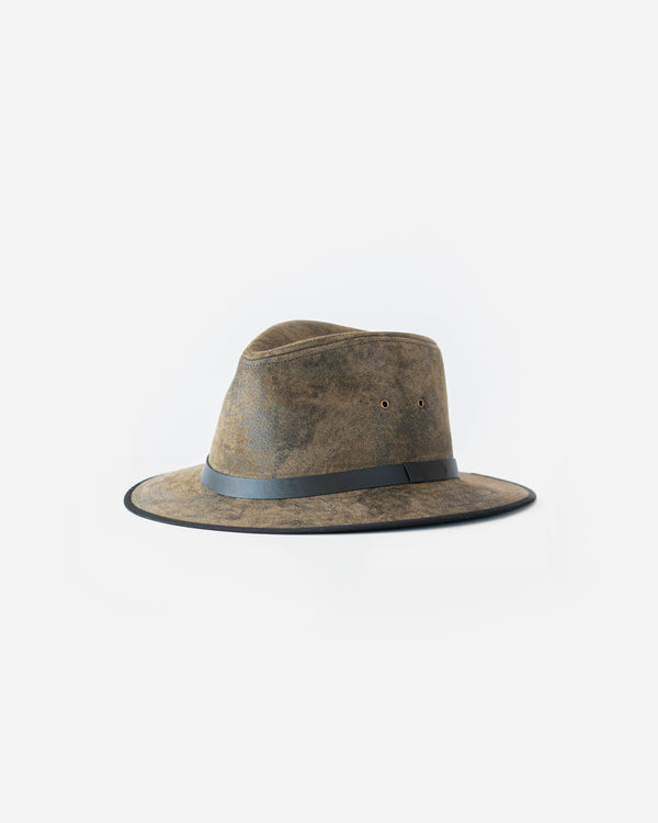 Distressed Leather Safari Hat