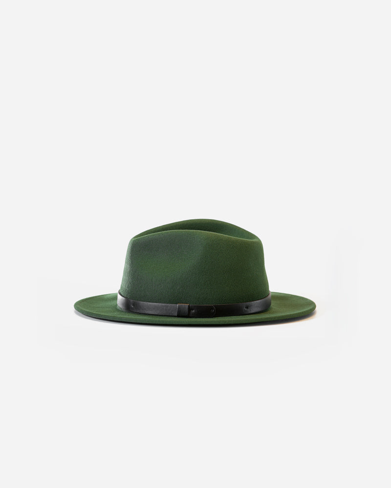 Packable wool felt fedora-Moss
