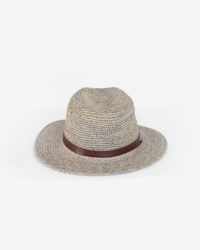 Hand Crochet Raffia Fedora with Leather Band