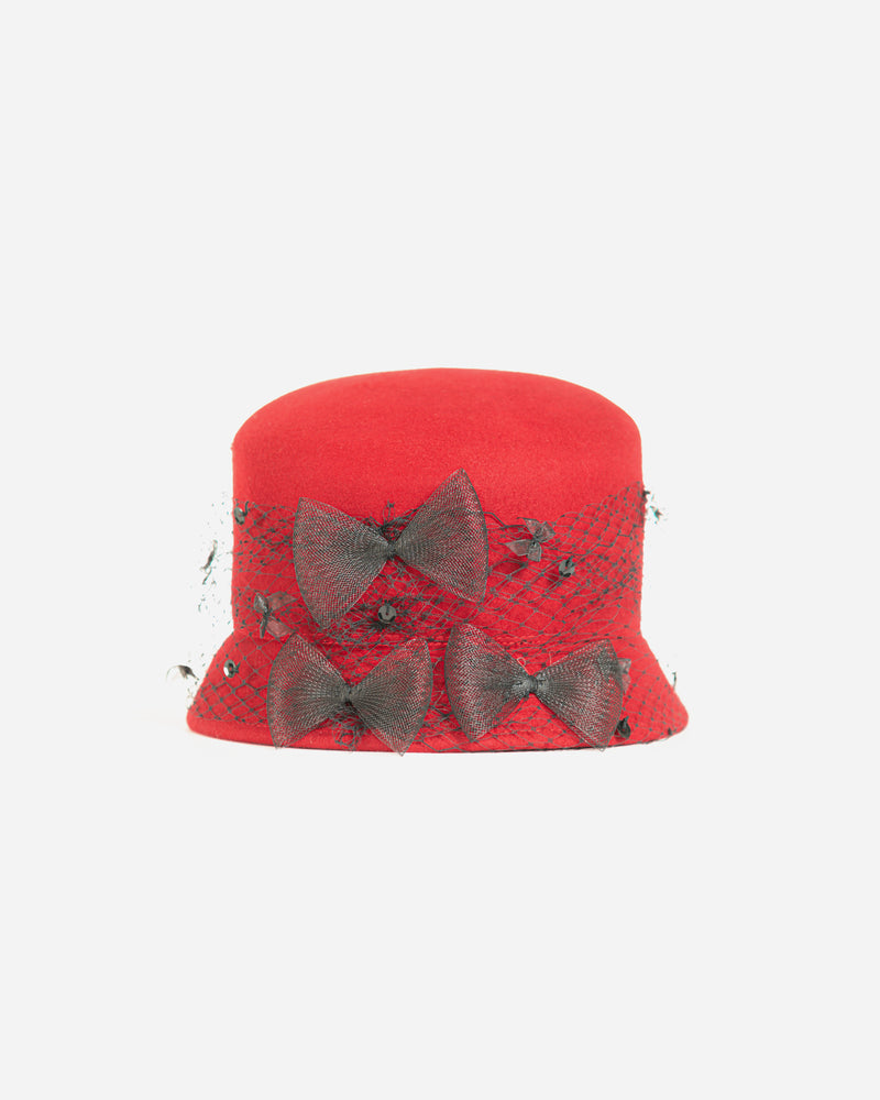 Wool Slant Crown Cloche Bucket Hat