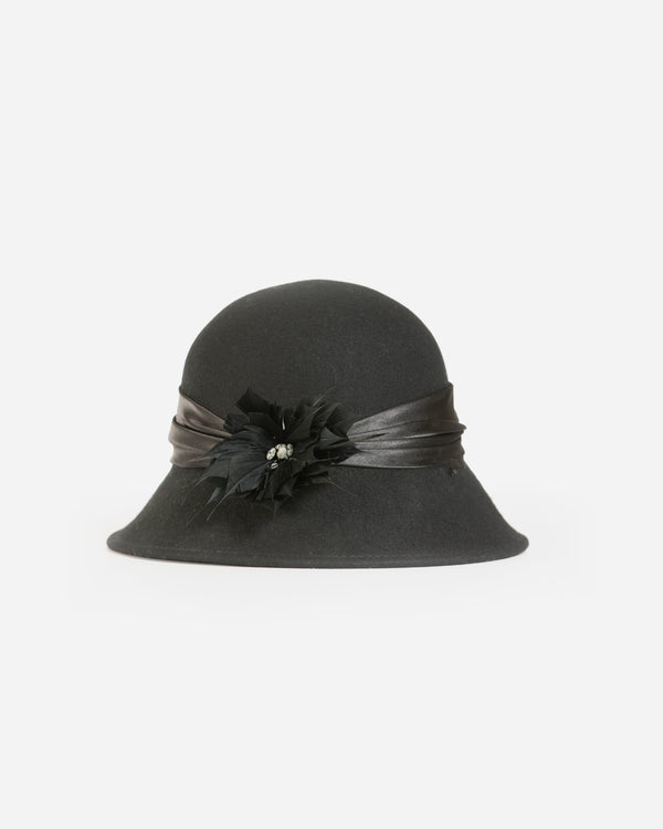 Wool Cloche Hat with Feather Flower