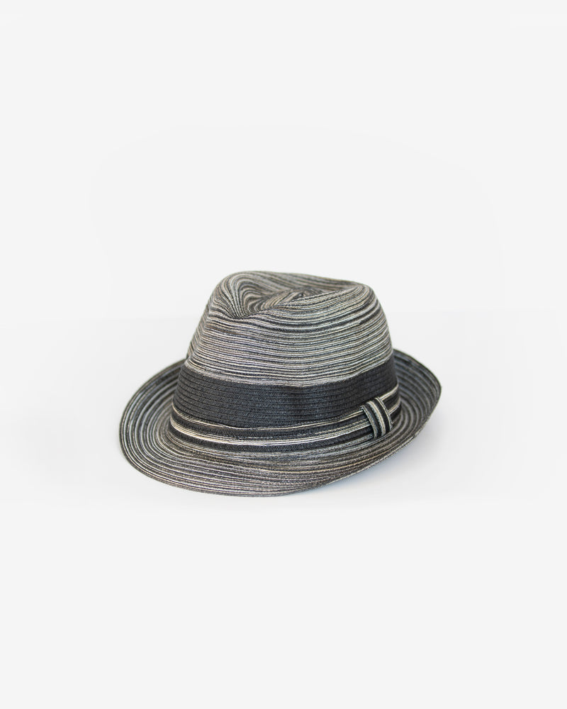Striped Woven Straw Fedora