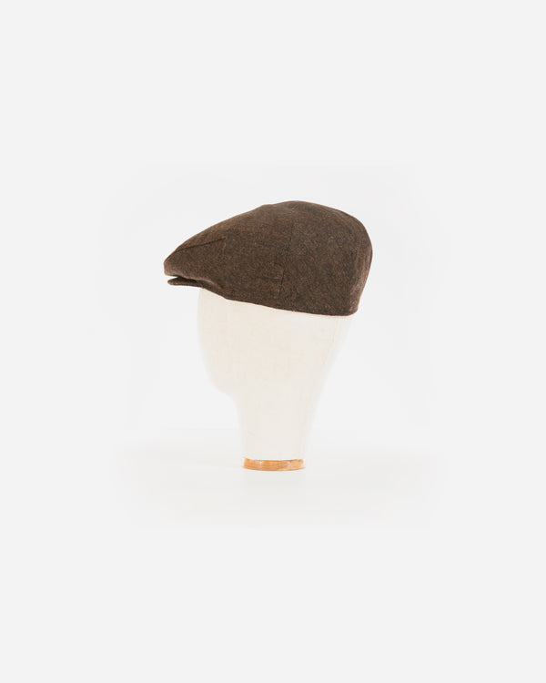 Wool Blend Brown Tweed Ivy Cap with Earflap- XL