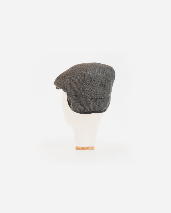 Wool Blend Black Tweed Ivy Cap with Earflap