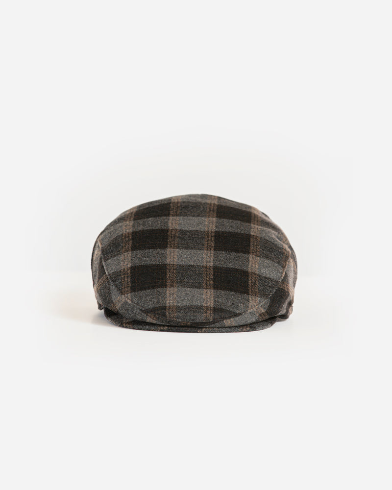 Black/Brown Checkered Ivy Cap with Earflap