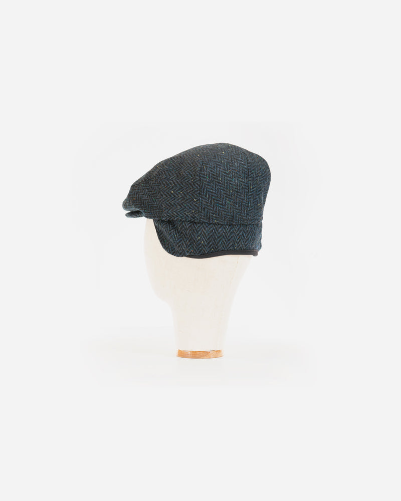 Wool Blend Blue Herringbone Ivy Cap with Earflap