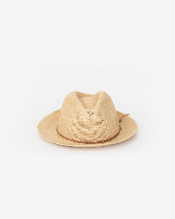 Hand Crochet Raffia Fedora with Waxed Cord