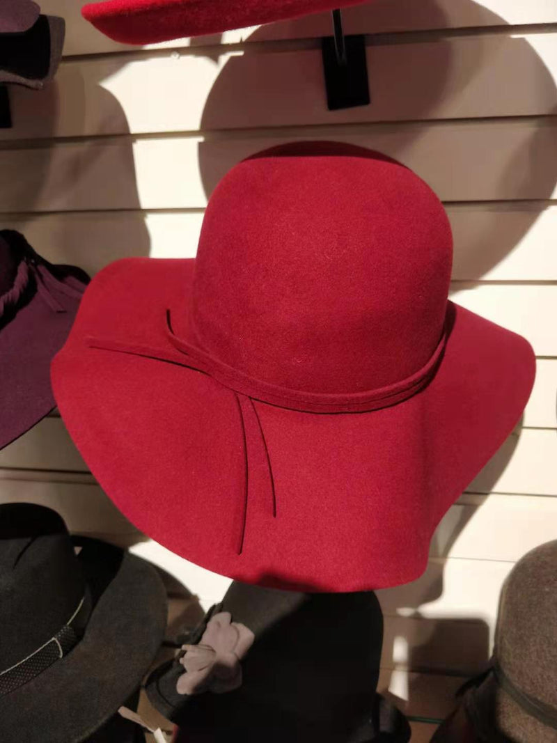 Burgundy Wide Brim Women's Hat