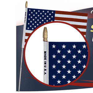 American Flag On A Stick Made In Usa 12X18 Inch
