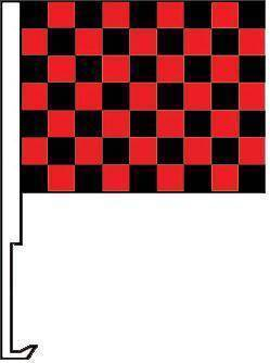 vendor-unknown Additional Flags Black and Red Checkered Window Clip Flag