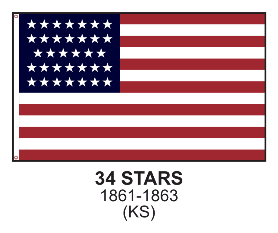 Eder Flag 3x5 / Nylon Applique Cut and Sewn 34 Stars US Flag - 3x5,4x6,5x8 - Nylon Appliqué Cut and Sewn - USA Made