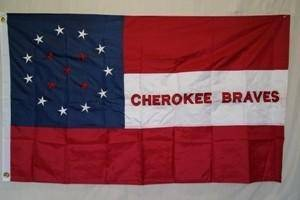 vendor-unknown Historic War Flags Cherokee Braves Nylon Embroidered Flag 3 x 5 ft.
