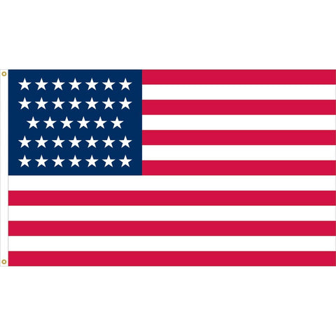 Image of 34 Stars Linear USA Flag - Nylon Appliqué Cut and Sewn - Made in USA