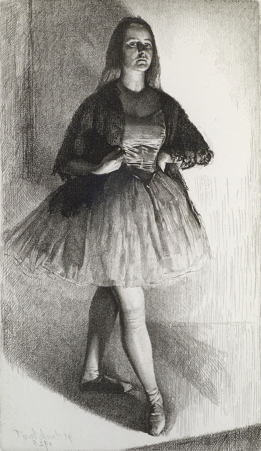 Black and white image of a ballerina on stage