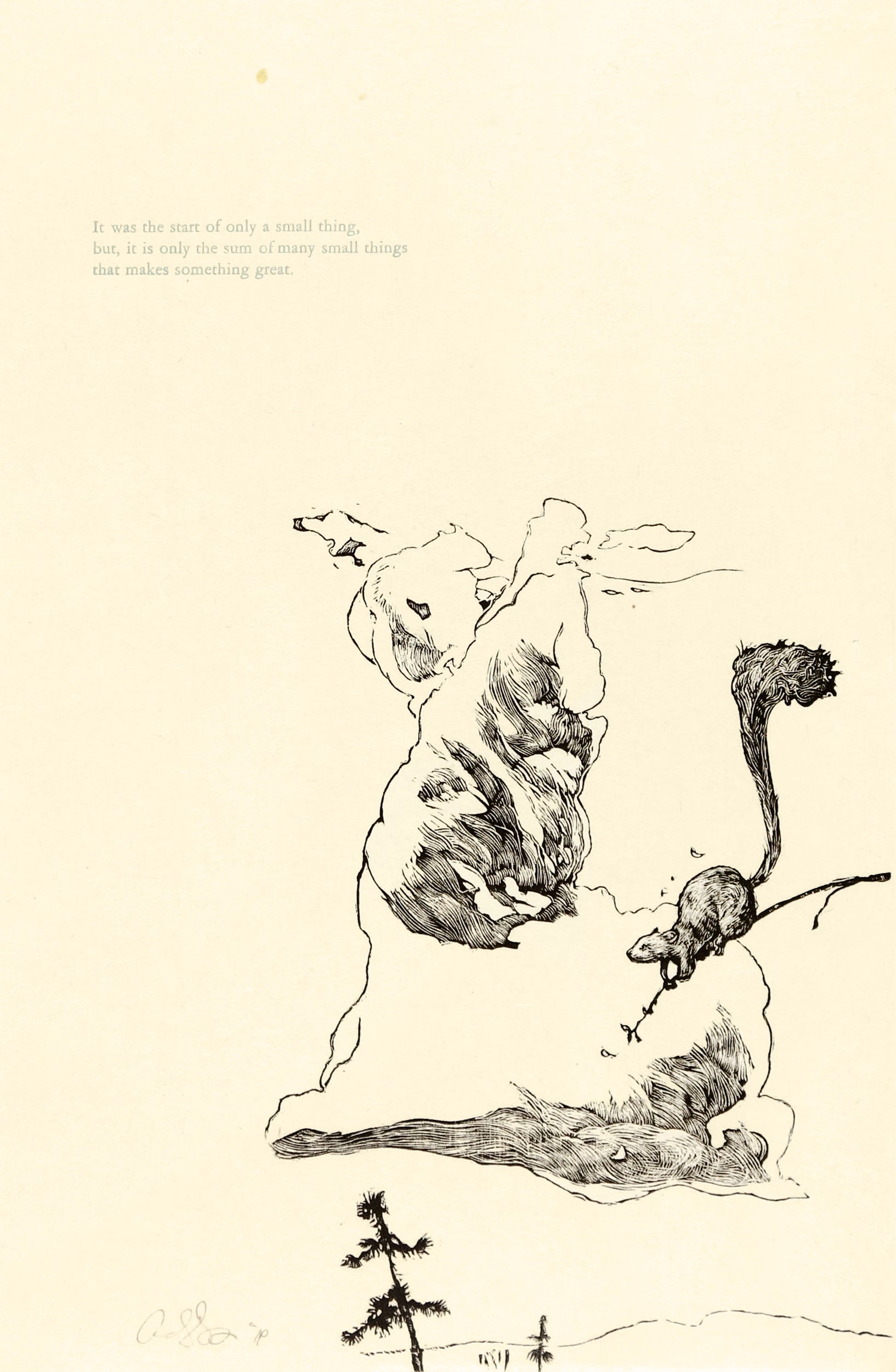 Black image on cream paper of a squirrell