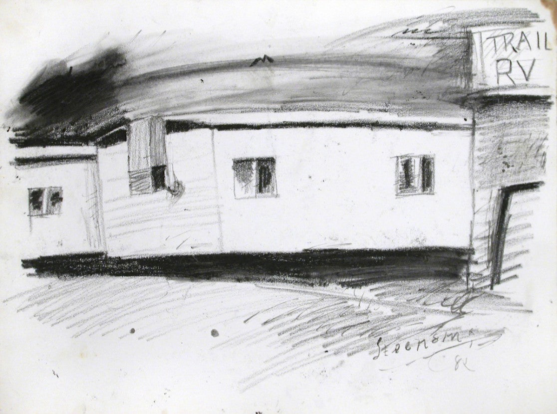 Black and white drawing of a mobile home