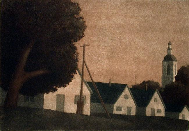 Vladimir Basmanov's 'Evening Melody' is a muted landscape of a tree, three houses, and a church steeple with a slanted horizon.