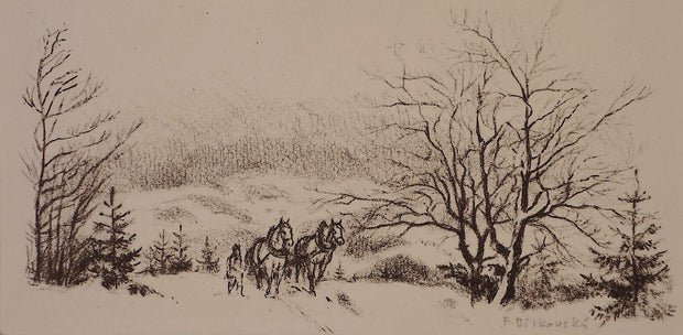 Horses in Winter (Ex Libris) by F. Bilovsky - Davidson Galleries