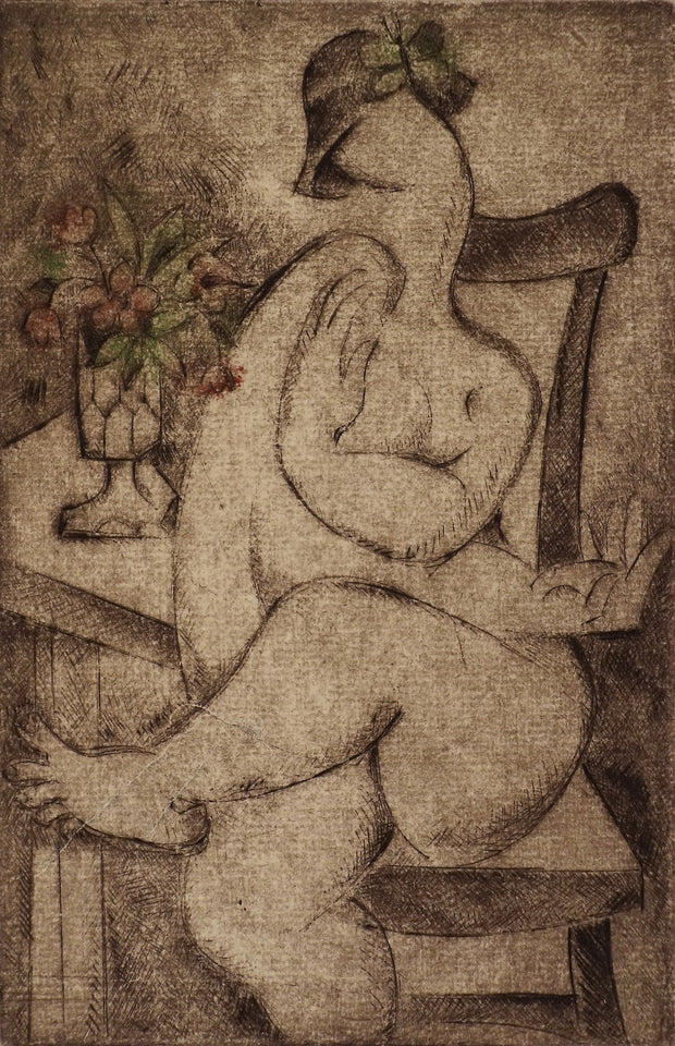 Nude with Flower (Ex Libris) by Alena Antonova - Davidson Galleries