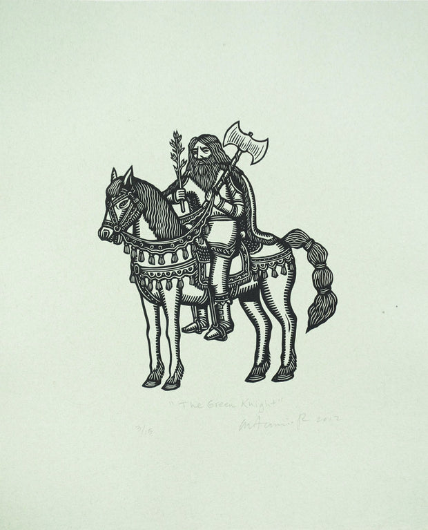 Sir Gawain and the Green Knight (Suite of 11 linocuts) by Artemio Rodriguez - Davidson Galleries