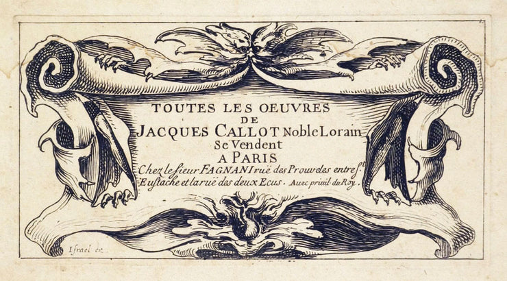 "Title Page ""Tout le Oeuvres de Jacque Callot"" by Jacques Callot - Davidson Galleries"