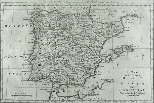 A New And Accurate Map Of Spain and Portugal by Maps, Views, and Charts - Davidson Galleries